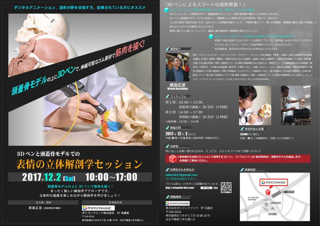3Dペンと頭蓋骨モデルでの表情の立体解剖学セッション